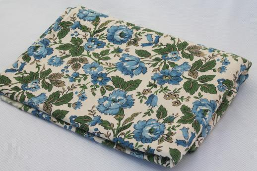 60s vintage cotton duck fabric, retro flowered print blue & green flowers on natural cotton