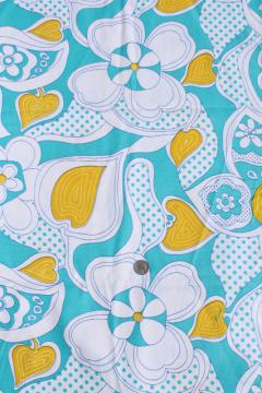 60s vintage cotton fabric, aqua / yellow psychedelic zentangle style flowered print