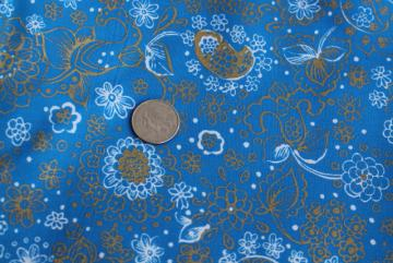 60s vintage cotton fabric, deep blue / metallic gold bohemian floral, J Manes print
