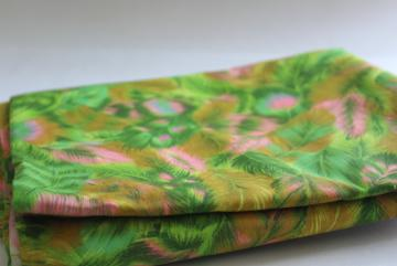 60s vintage cotton fabric, feather plumes print in shocking pink, green, gold