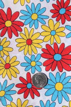 60s vintage cotton fabric w/ flower power daisy print in aqua, red, yellow