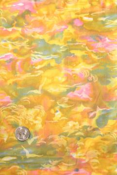 60s vintage cotton fabric, golden sunset abstract print, blue water, pink clouds
