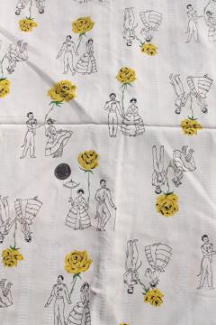 60s vintage cotton fabric, novelty print Spanish dancers & yellow roses