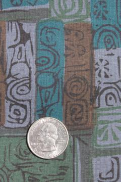 60s vintage cotton fabric, tribal ethnic abstract block print style material