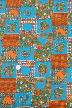 60s vintage cotton print fabric, country calico patchwork roosters & apples