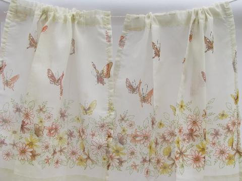 60s vintage curtains, butterfly ruffle sheers & orange roses drapes