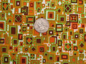 60s vintage decorator fabric, op art squares print, hot tangerine orange!