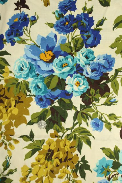 60s vintage decorator fabric sample, cotton w/ floral print green gold & blue