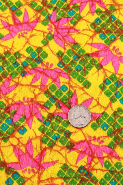 60s vintage fabric, Lilly style tropical flowers in shocking pink, green, bright yellow