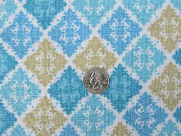 60s vintage fabric, moorish tile print in shades of blue and tan