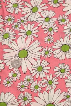 60s vintage fabric, pink & white daisies print cotton flower power daisy print