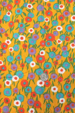 60s vintage fabric, retro flowered print cotton w/ flowers on mustard gold