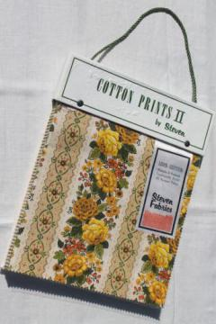 60s vintage fabric sample book, floral print cotton upholstery / drapery material