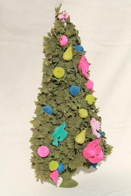 60s vintage flocked christmas tree door decoration pink aqua birds retro kitsch