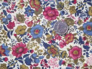 60s vintage floral print cotton fabric, wine pink, blue, gold tan on cream
