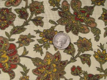 60s vintage flowers of India style print cotton fabric, 38'' wide