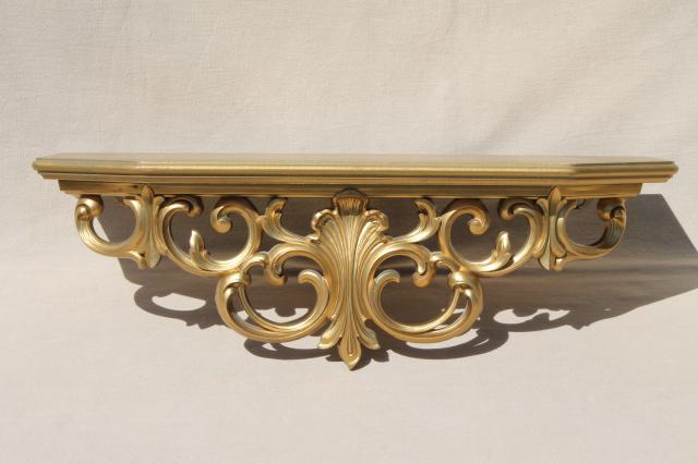 60s vintage gold rococo french country ornate wall bracket mantel clock shelf