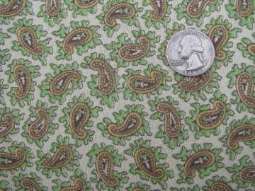 60s vintage hippie style paisley print cotton fabric, green earth tones