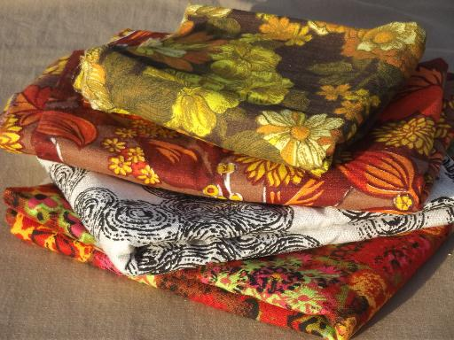 60s vintage home decor fabric lot retro flowers mod print cotton decorator fabrics