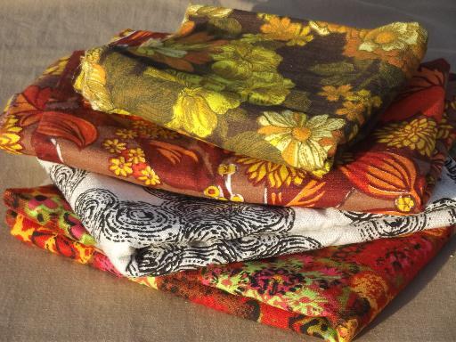 60s vintage home decor fabric lot, retro flowers mod print cotton ...