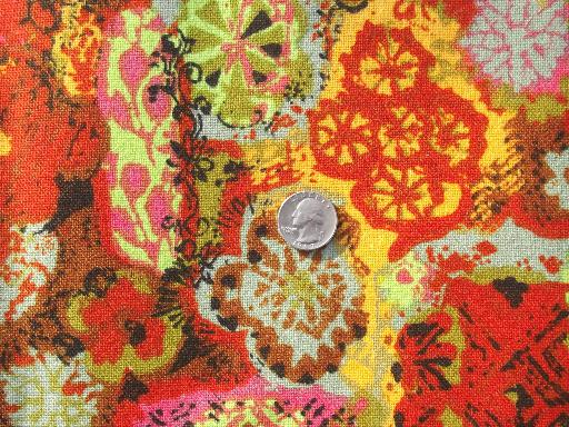 60S Vintage Home Decor Fabric Lot, Retro Flowers Mod Print Cotton