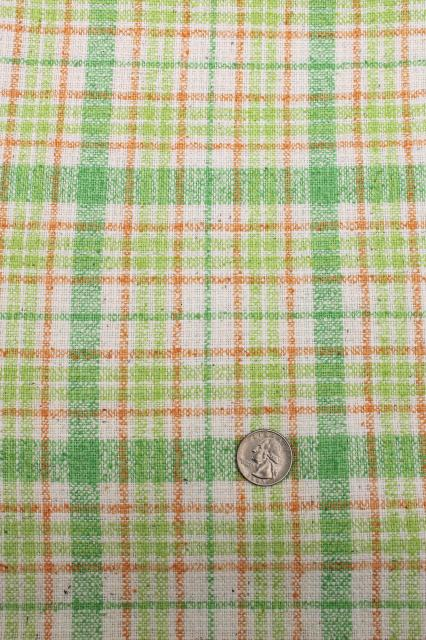 60s vintage linen weave summer suiting fabric lot, preppy colors checked plaids