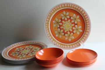 60s vintage melmac dishes, hippie mandala coral orange print melamine dinnerware set