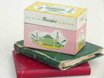 60s vintage metal Recipes box & lot of hand written & typed recipe cards