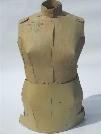 60s Vintage Paper Dress Form Perfect Fit Adjust O Matic