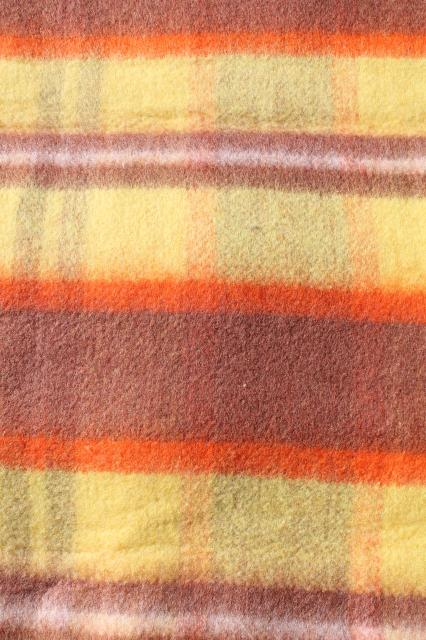 60s vintage plaid rayon / nylon camp blanket in fall colors, unused w/ Penney's label