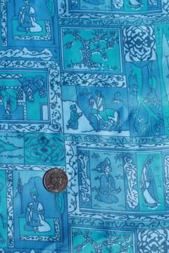 60s vintage polished cotton fabric, mod fairy tale scenes from Arabian Nights
