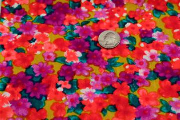 60s vintage poly challis fabric, flower power girly floral psychedelic colors