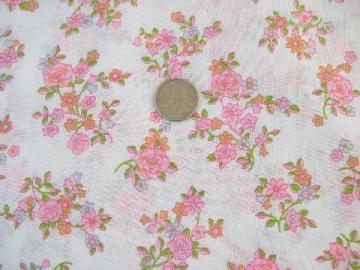 60s vintage poly/cotton blend fabric, retro flowers floral print in pink / coral