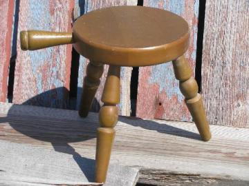 60s vintage primitive wood 3 legged milking stool or country plant stand