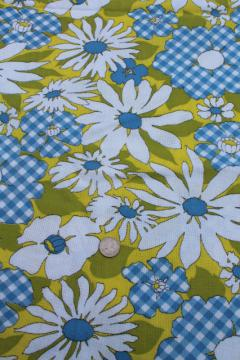 60s vintage print fabric retro daisy gingham flowers lime green linen weave