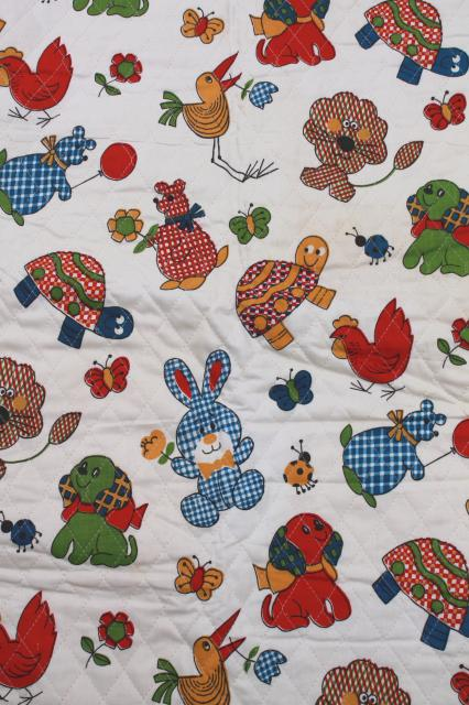 60s vintage quilted cotton fabric remnant calico animals for Kids novelty fabric