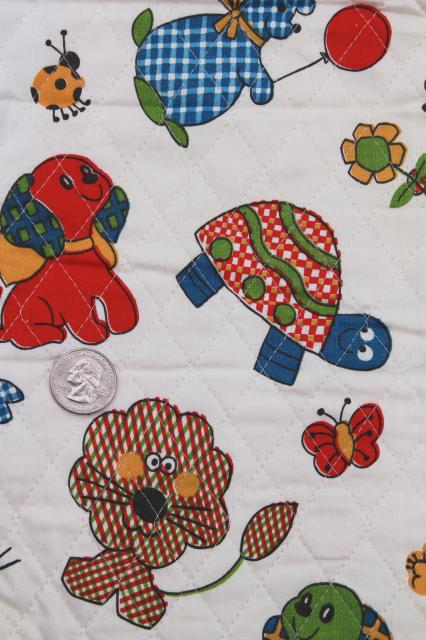 60s vintage quilted cotton fabric remnant, calico animals novelty children's print