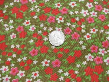 60s vintage rayon blend fabric, mod flower print in red & pink w/ white daisies