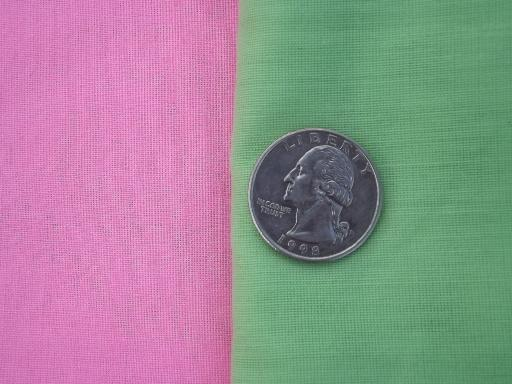 60s vintage sheer fabric, pink and mint green poly voile for curtains etc.