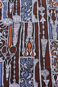 60s vintage steampunk print fabric, zentangle crazy line drawings of scissors
