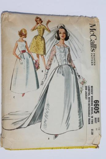 60s vintage wedding dress pattern, McCall\'s sewing pattern for gown ...