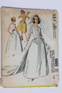 60s vintage wedding dress pattern, McCall's sewing pattern for gown w/ detachable train