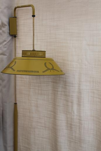 60s Vintage Yellow Tole Shade Lamp Wall Mount