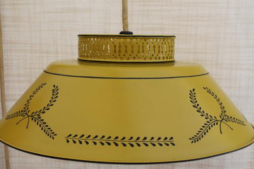 60s vintage yellow tole shade lamp, wall mount counterweight adjustable pull down hanging light