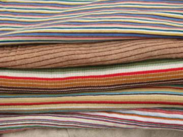 60s-70s retro striped cotton/poly ribbed jersey t-shirt knit fabric lot