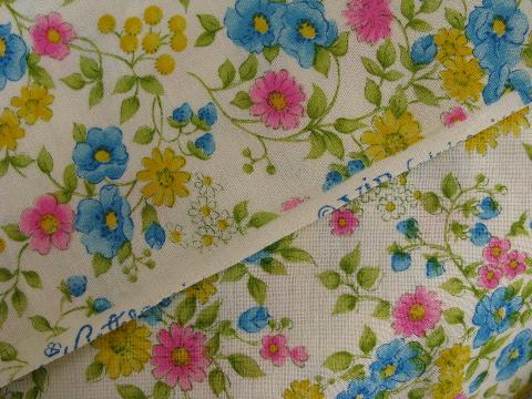 60s-70s vintage cotton quilting weight fabric, fields of bright flowers