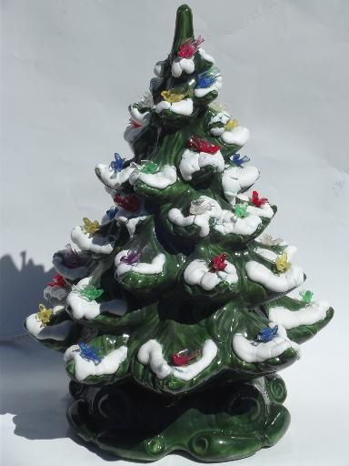 - 60s-70s Vintage Handmade Ceramic Christmas Music Box Tree W/ Dove Lights