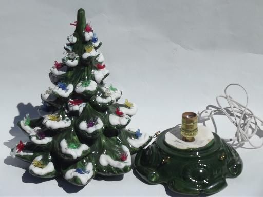 60s 70s vintage handmade ceramic christmas music box tree w dove lights