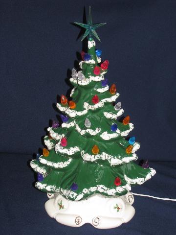 60s 70s vine handmade ceramic christmas tree w plastic bulb lights