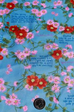 70s 80s vintage fabric Edna St Vincent Millay poetry quotes on silky poly shirting / lining fabric